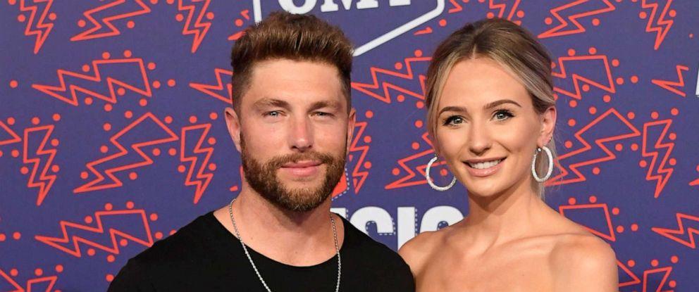 PHOTO: Chris Lane and Lauren Bushnell attend the 2019 CMT Music Awards at Bridgestone Arena on June 05, 2019, in Nashville, Tenn.