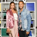 Chrissy Teigen and John Legend attend the Finery App launch party hosted by Brooklyn Decker at Microsoft Lounge, July 11, 2018, in Culver City, Calif.