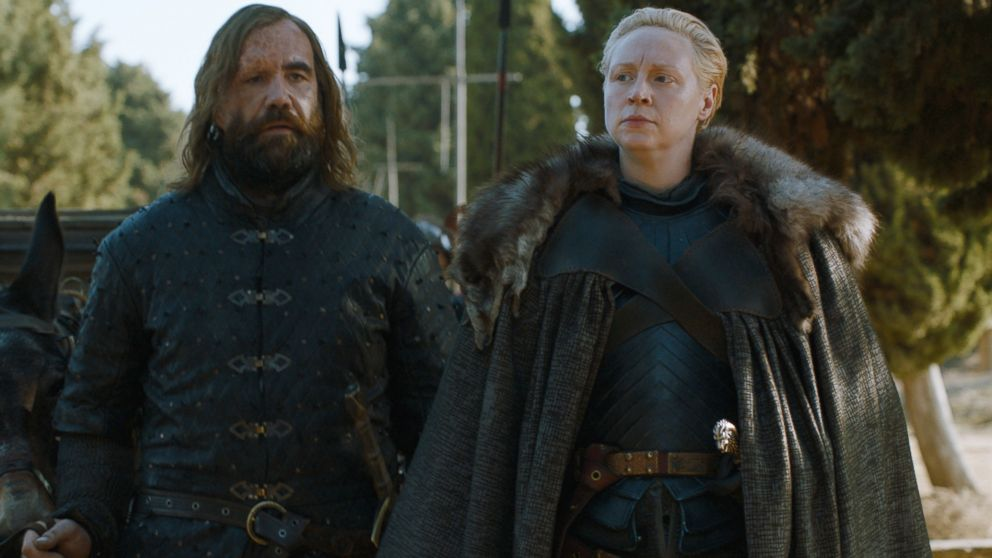 PHOTO: Rory McCann, left, as Sandor The Hound Clegane, and Gwendoline Christie, as Brienne of Tarth, in a scene from Game of Thrones.