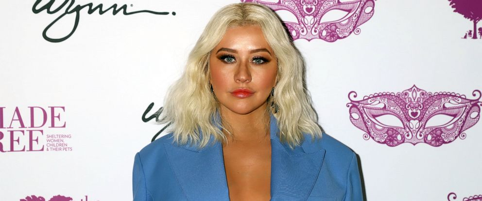 PHOTO: Christina Aguilera honored with Deacon Bonnie Polley Community Hero Award at Mask Off Gala, Mansion 54 in Las Vegas, Oct. 3, 2019.