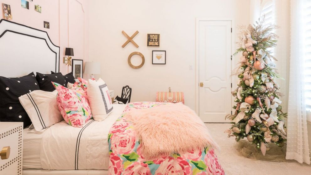 a bedroom is decorated for christmas by baker design group - How To Decorate Your Bedroom For Christmas