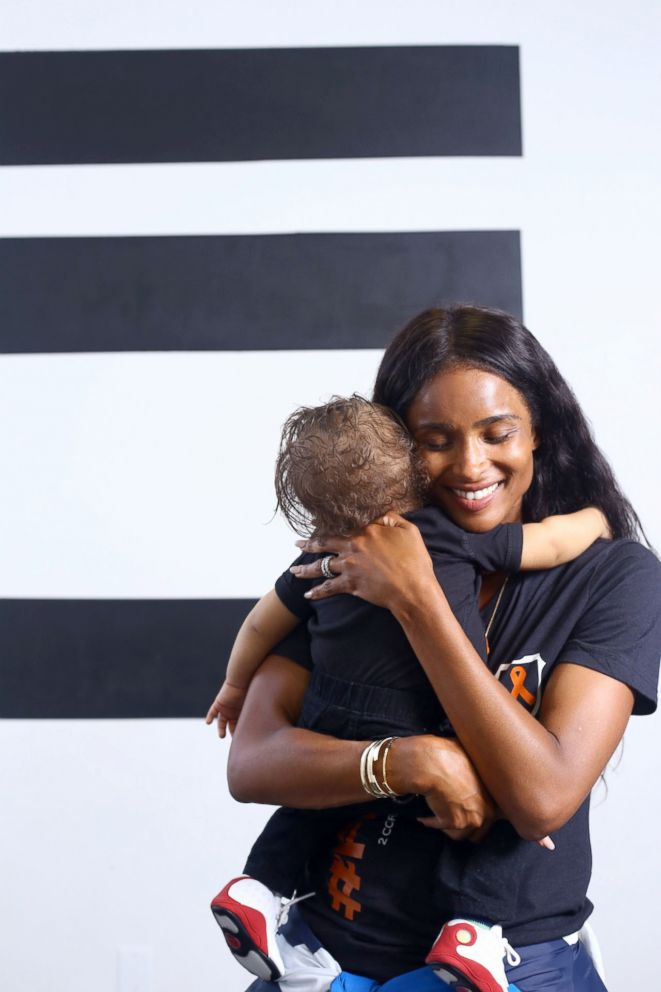 PHOTO: Singer Ciara surprised Kenny Thomas, 34, and his 1-year-old, Kristian, on Aug. 2, after she named them the winners of her Level Up challenge.