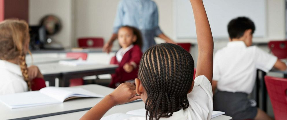 PHOTO: A child raises their hand during class in this stock photo.