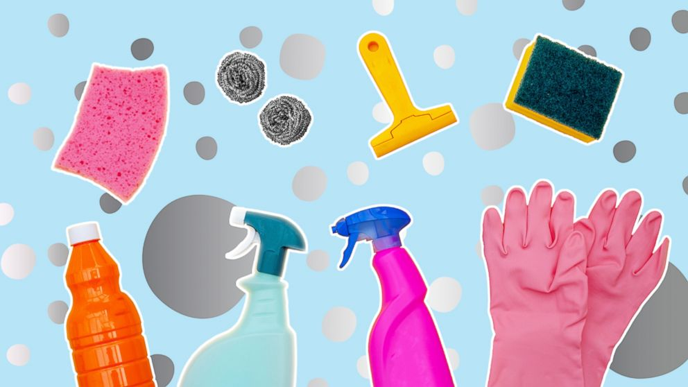 PHOTO: In this undated stock photo shows a collection of cleaning items.