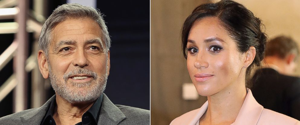 PHOTO: George Clooney speaks onstage during the Hulu Panel during the Winter TCA 2019, Feb. 11, 2019 in Pasadena, Calif. Meghan, Duchess of Sussex during a visit to The National Theatre, Jan. 30, 2019, in London.