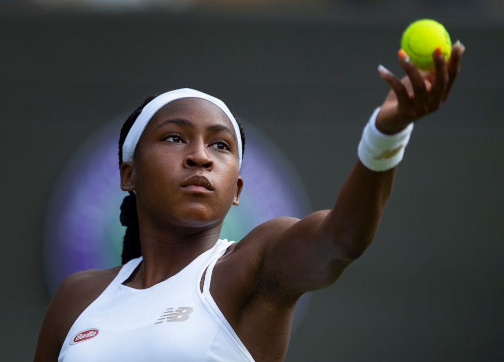 PHOTO: Cori Gauff of USA in action during her first round victory over Venus Williams of USA on Day One of The Championships - Wimbledon 2019 at All England Lawn Tennis and Croquet Club on July 1, 2019 in London, England.
