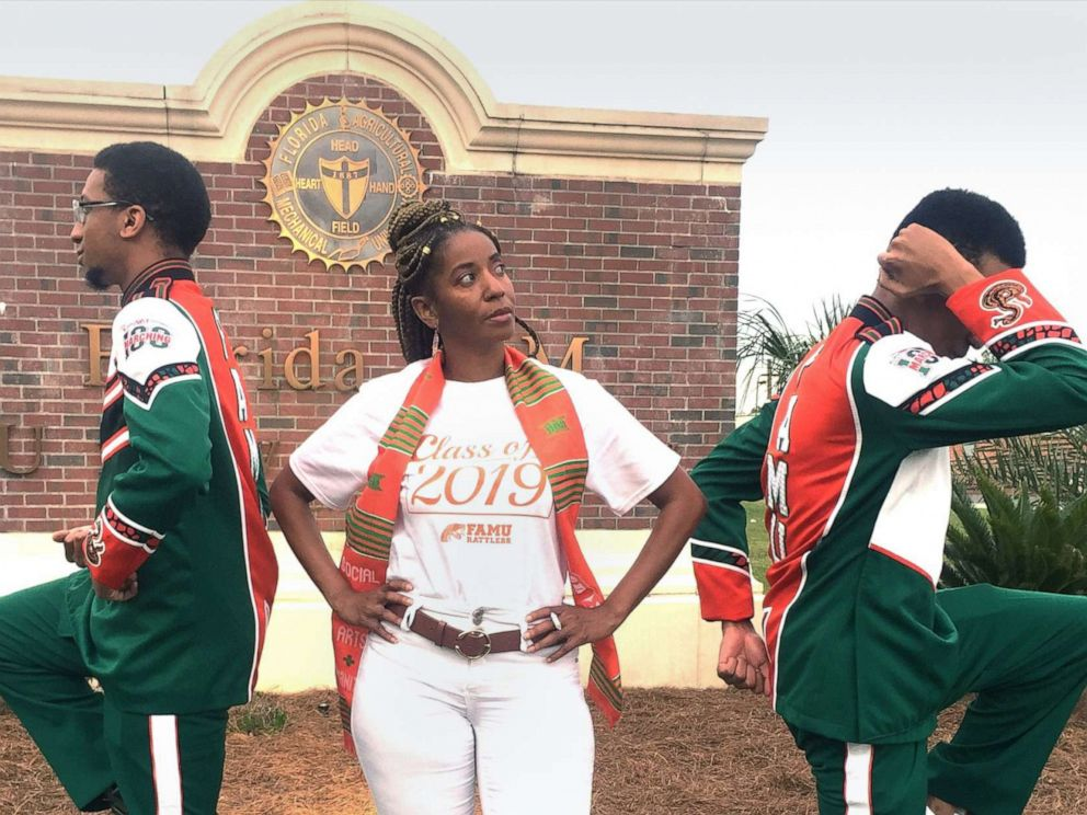 PHOTO: Madelyn McClarey, center, poses on the Florida A&M University campus in Tallahassee Florida with her sons Aaron and Aubrey Hough.