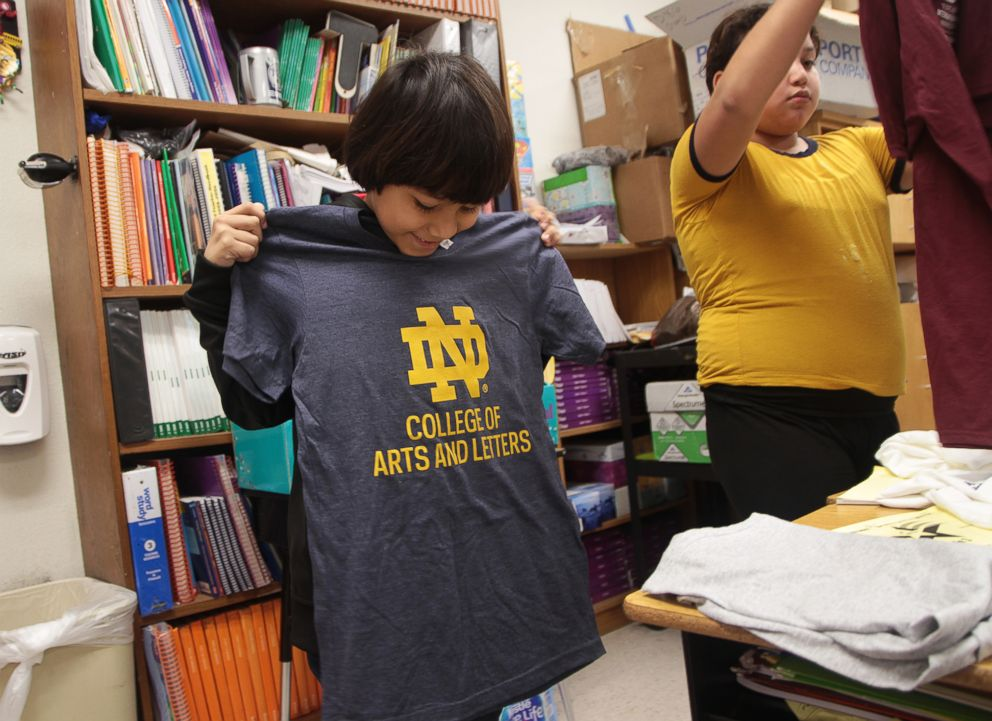PHOTO: So far, 30 universities have donated college t-shirts to Copperfield Elementary School in Texas after third grade teacher Margaret Olivarez reached out asking for t-shirt donations.
