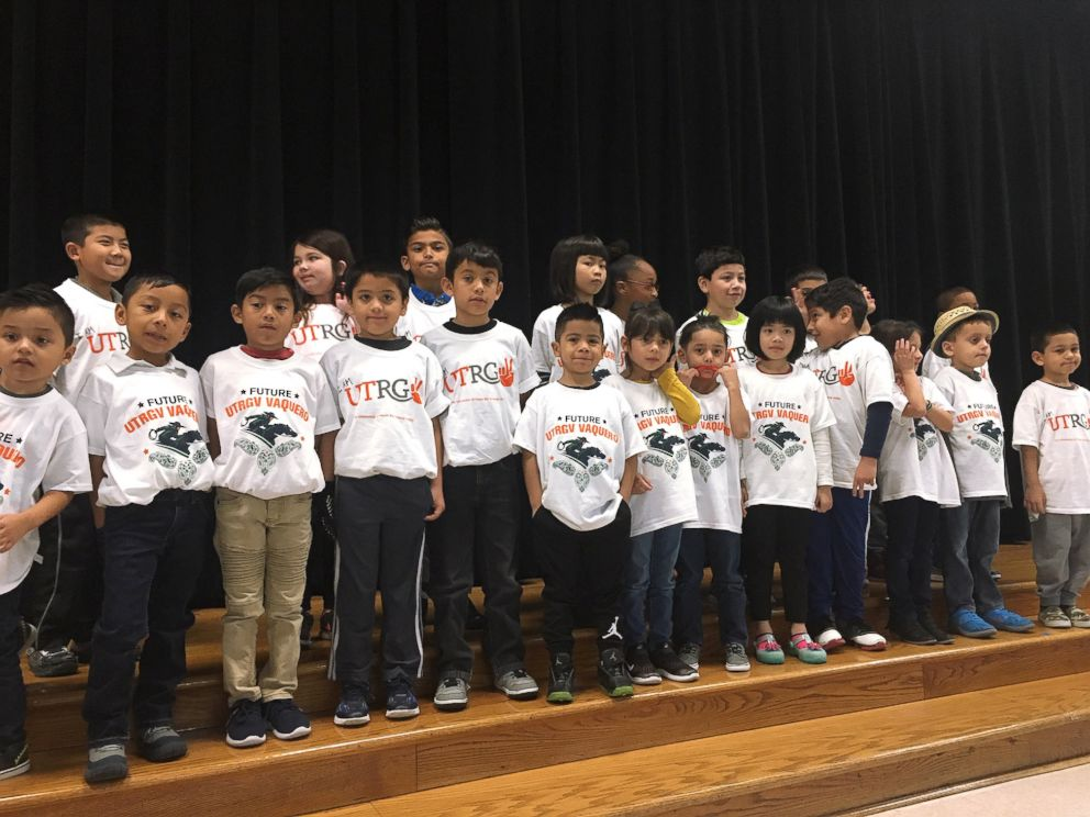PHOTO: When third-grade teacher Margaret Olivarez noticed the kids at Copperfield Elementary School in Texas, didnt have shirts to wear on college t-shirt day, she asked universities across the nation to donate them.