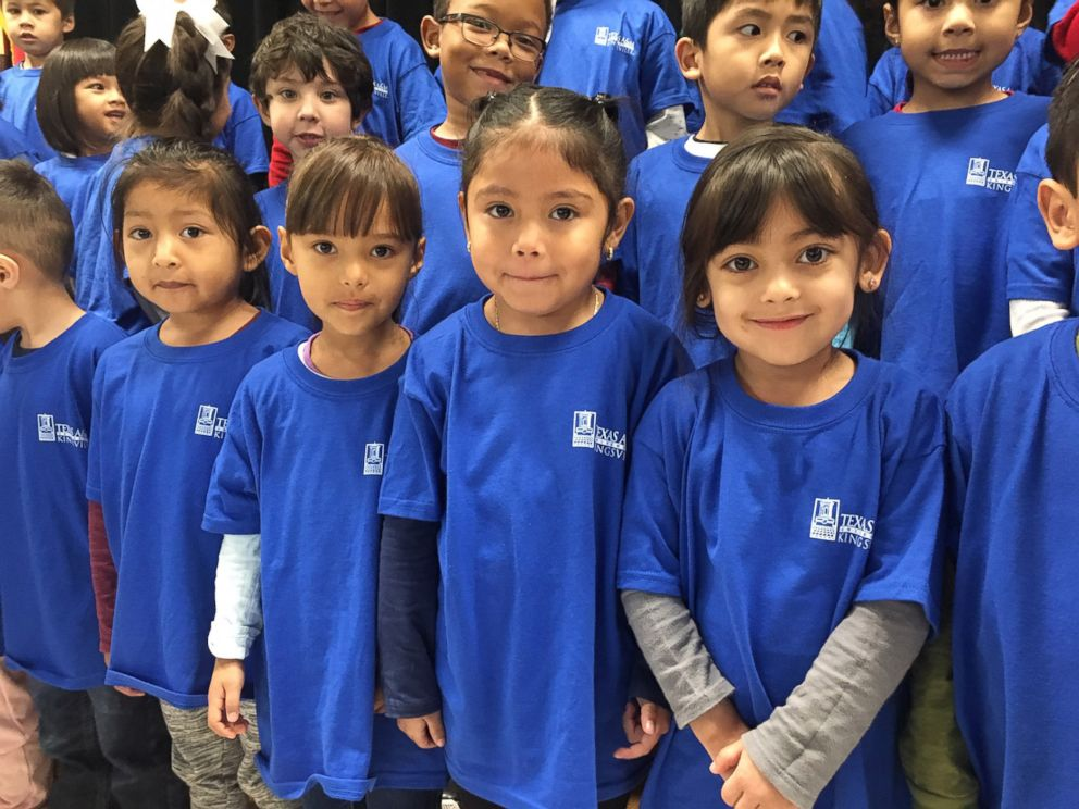 PHOTO: Third-grade teacher Margaret Olivarez of Copperfield Elementary School in Texas asked universities across the nation to donate college t-shirts to the children who attend the school