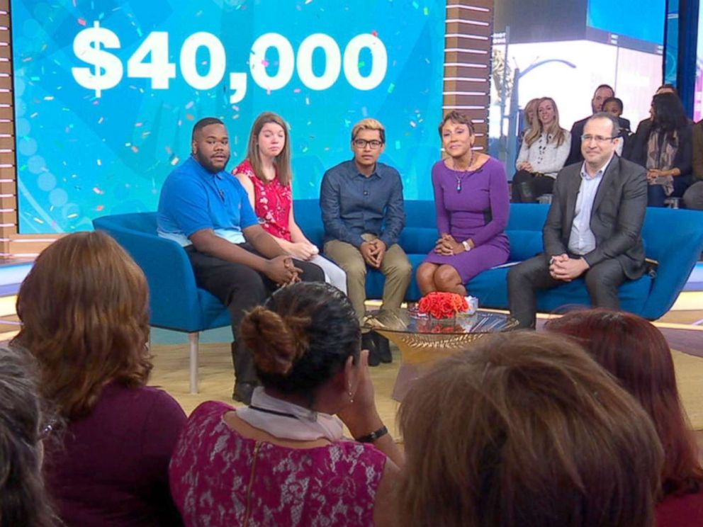PHOTO: Three students were surprised with $40,000 college scholarships live on Good Morning America.