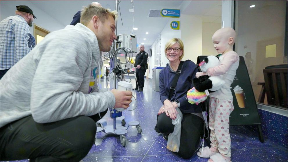 PHOTO: Bachelor Colton Underwood talks to a patient at UPMC Childrens Hospital of Pittsburgh, Feb. 10, 2019.