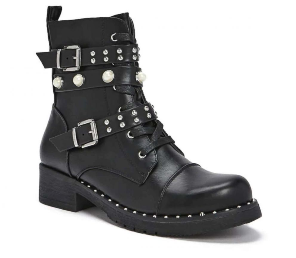 PHOTO: Studded Faux Leather Combat Boots