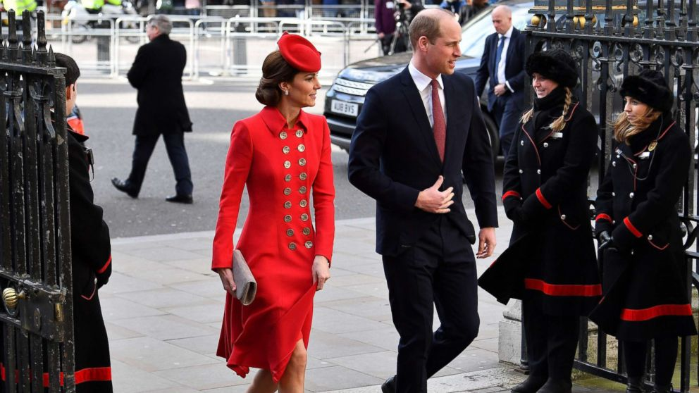 Britain's Prince William and Catherine, Duchess of Cambridge, arrive to attend a Commonwealth Day Service at Westminster Abbey in central London, March 11, 2019.