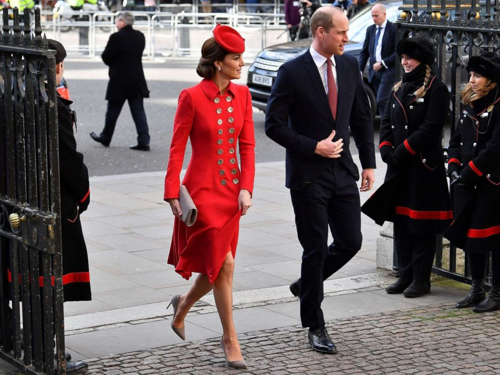PHOTO: Britains Prince William and Catherine, Duchess of Cambridge, arrive to attend a Commonwealth Day Service at Westminster Abbey in central London, March 11, 2019.