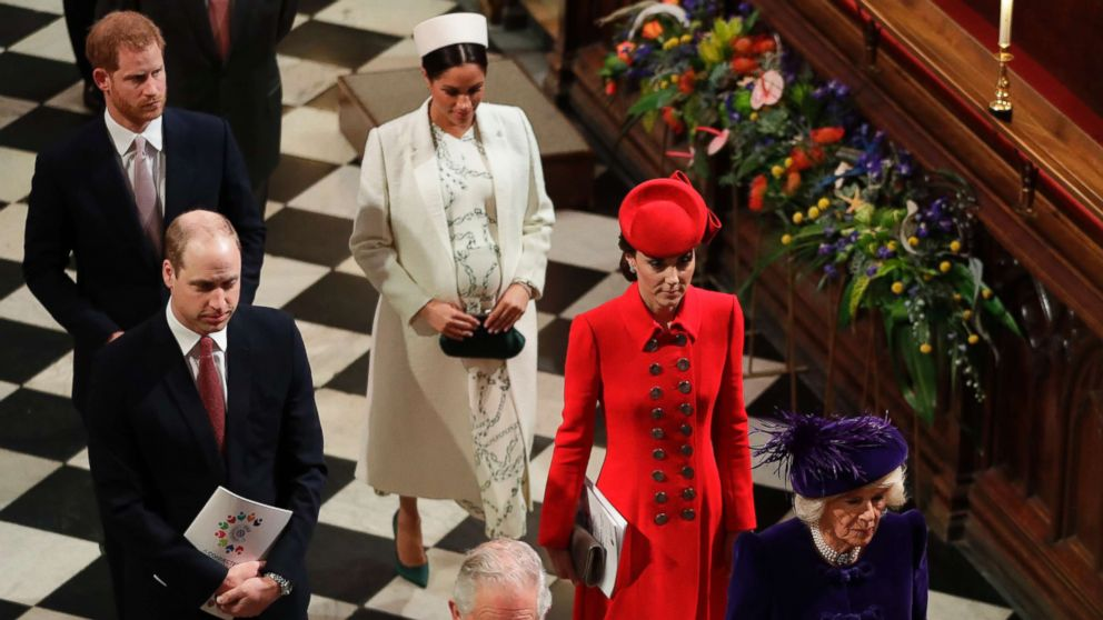 Members of Britain's Royal family leave after attending the Commonwealth Service at Westminster Abbey in London, March 11, 2019.