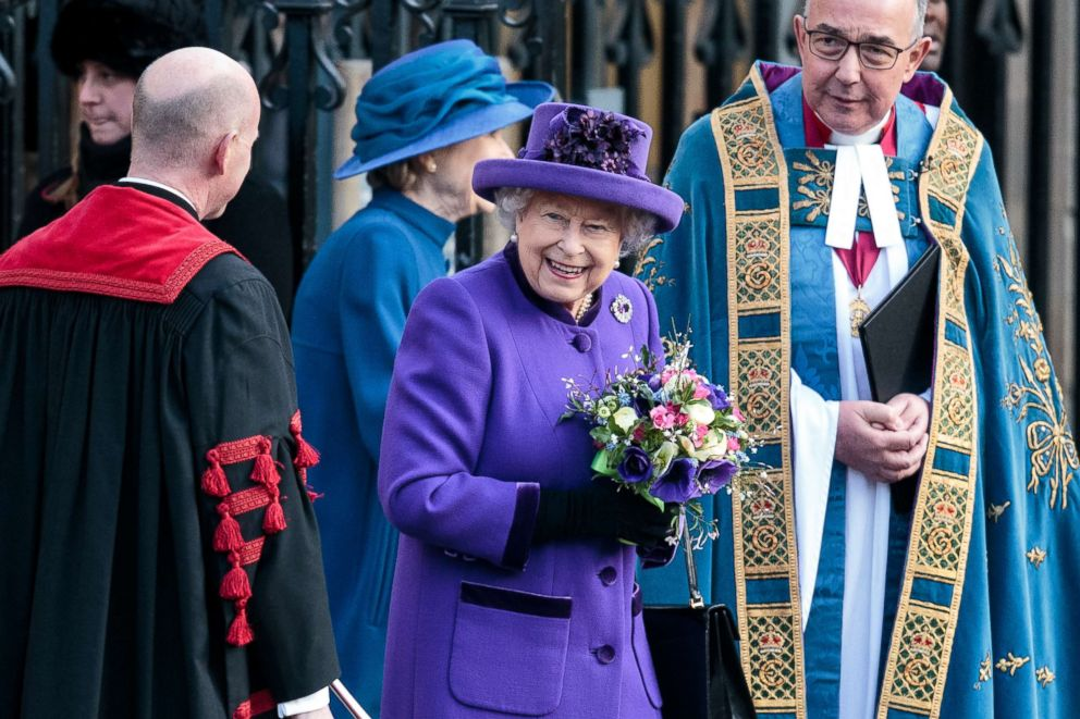 PHOTO: Queen Elizabeth II leaves following a Commonwealth Day Service at Westminster Abbey on March 11, 2019, in London.