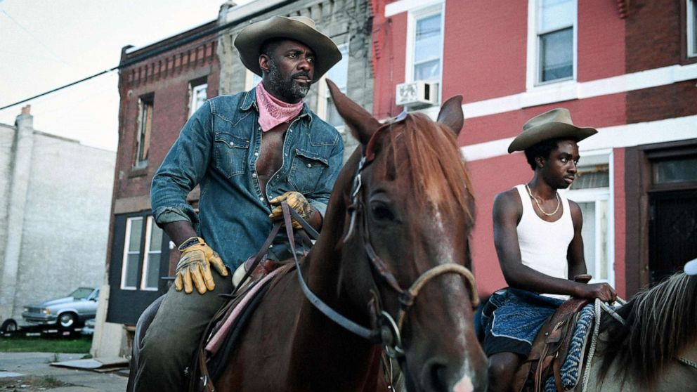 """PHOTO: Idris Elba, left, and Caleb McLaughlin in a scene       from the film """"Concrete Cowboy."""""""