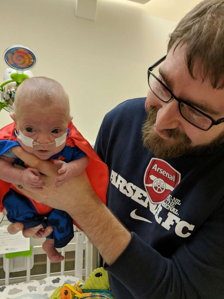 PHOTO: Connor Florio, now 8 months old, survived a life-threatening situation at birth to the point where he could start rehabilitation at Blythedale Childrens Hospital in Valhalla, NY.