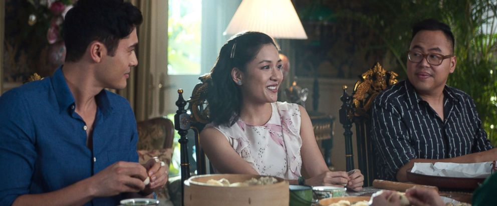 """Henry Golding as Nick, Constance Wu as Rachel and Nico Santos as Oliver in Warner Bros. Pictures' and SK Global Entertainment's and Starlight Culture's contemporary romantic comedy """"CRAZY RICH ASIANS,"""" a Warner Bros. Pictures release."""