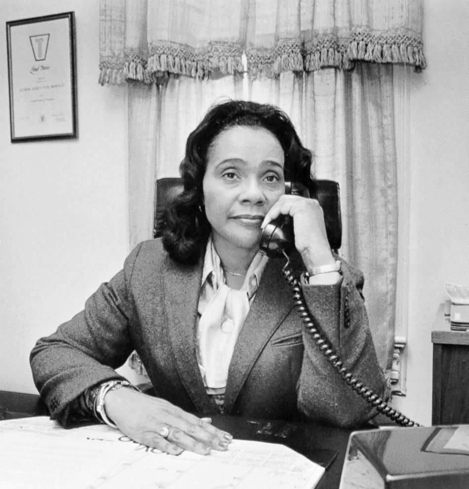 PHOTO: Coretta Scott King answers a telephone in this undated photo.