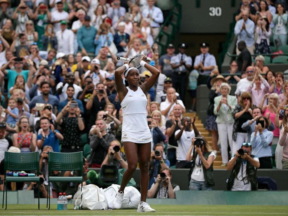 PHOTO: United States Cori Coco Gauff reacts after beating United Statess Venus Williams in a Womens singles match during day one of the Wimbledon Tennis Championships in London, July 1, 2019.