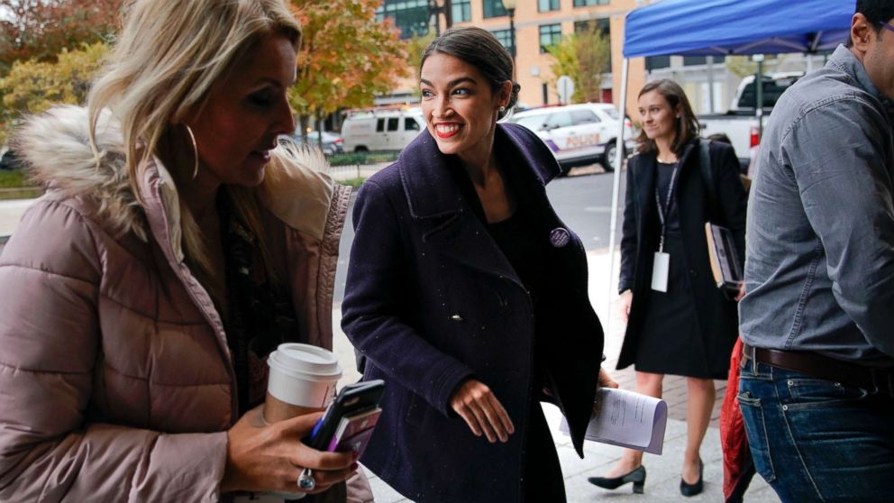 Rep.-elect Alexandria Ocasio-Cortez, D-NY., arrives for orientation for new members of Congress, Nov. 13, 2018, in Washington D.C.