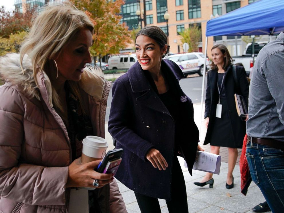 PHOTO: Representative-elect Alexandria Ocasio-Cortez arrives for orientation for new members of Congress, Nov. 13, 2018, in Washington D.C.