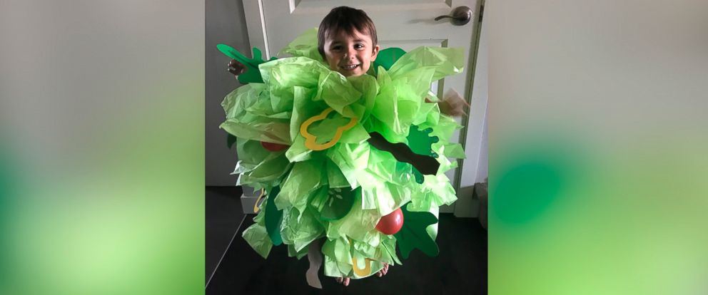 PHOTO: Danielle Bevens son wears a salad Halloween costume.