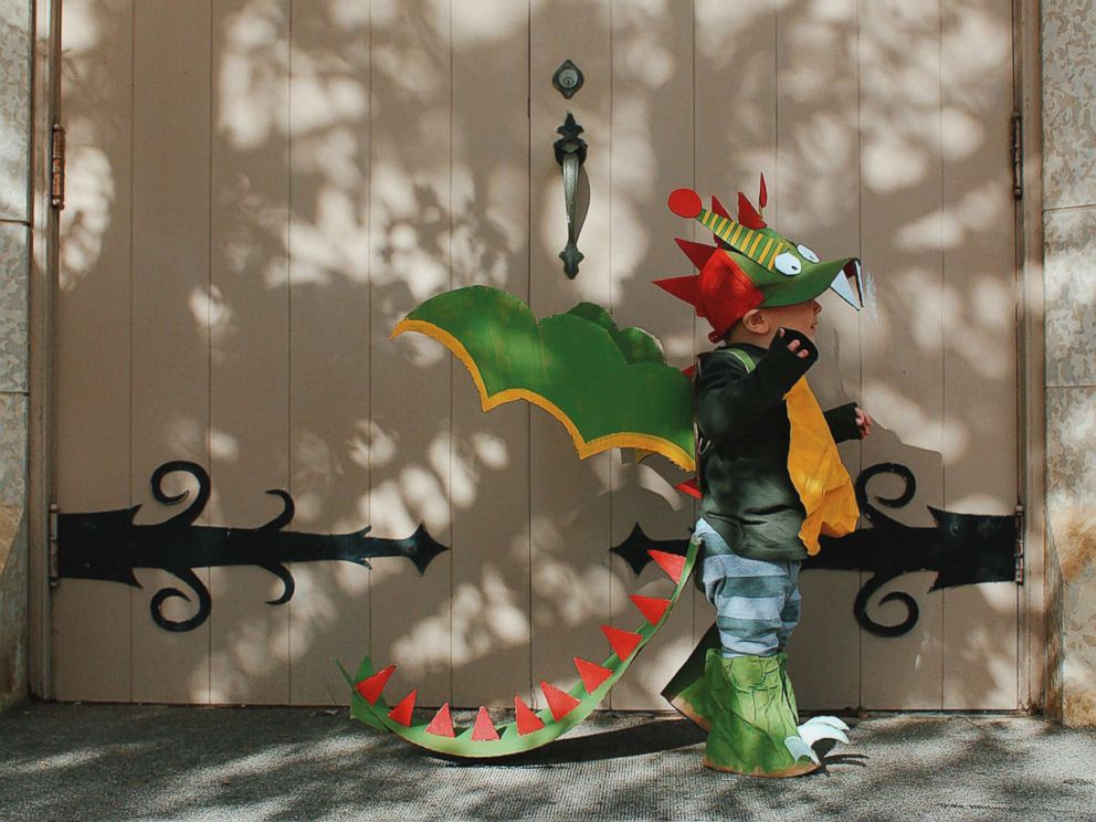 PHOTO: Danielle Bevens son wears a dragon costume.
