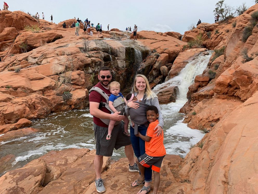 PHOTO: Joseph and Shanna Weight of Elk Ridge, Utah, are seen in an undated photo with their kids Milo, 5, Nash, 2 and their newly adopted daughter, Onni Pearl Weight, 3 months.