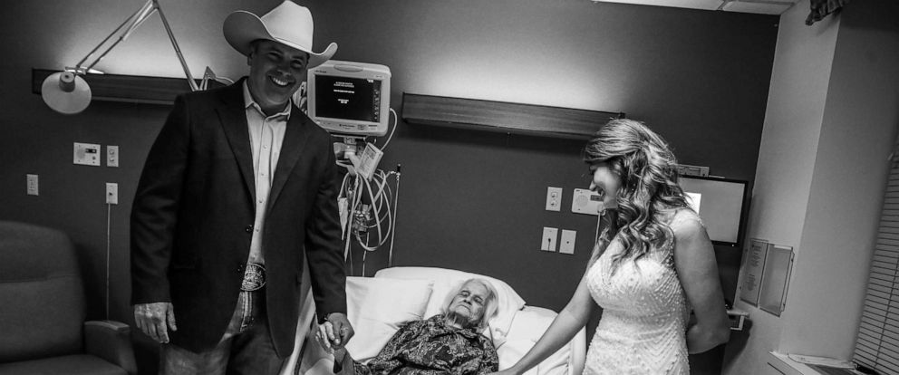PHOTO: Clay Cameron, weds Sky Howard in an unofficial ceremony at Hemphill County Hospital in Hemphill County, Texas, beside his grandmother, harlotte Bussard, 100.