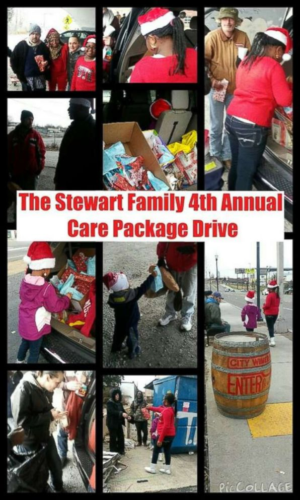 PHOTO: Latiaa Stewart, of Antioch, Tennessee, and her family distribute care packages to local homeless people each Christmas.