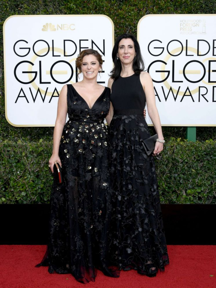 PHOTO: Actress Rachel Bloom and writer/producer Aline Brosh McKenna arrive to the 74th Annual Golden Globe Awards held at the Beverly Hilton Hotel, Jan. 8, 2017.