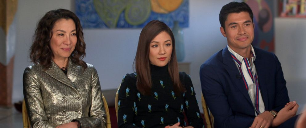 "PHOTO: Michelle Yeoh, Constance Wu and Henry Golding discuss their film ""Crazy Rich Asians."""