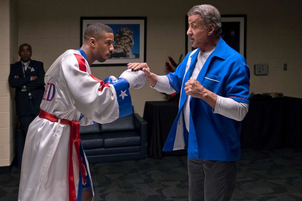 PHOTO: Michael B. Jordan, left, and Sylvester Stallone in a scene from Creed II.