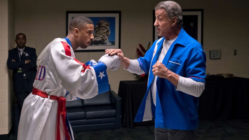 """Michael B. Jordan, left, and Sylvester Stallone in a scene from """"Creed II."""""""