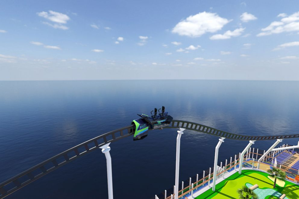 PHOTO: A rendered illustration shows the electric roller coaster on the Carnival Cruise Line ship Mardi Gras, planned for 2020.