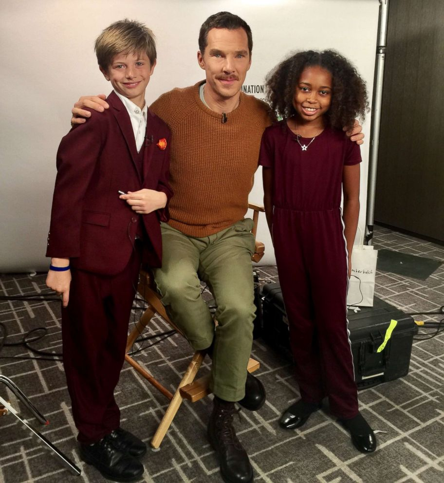 PHOTO: William Arbuckle and Nyla Smith with The Grinch star Benedict Cumberbatch, Nov. 2, 2018, in New York City.
