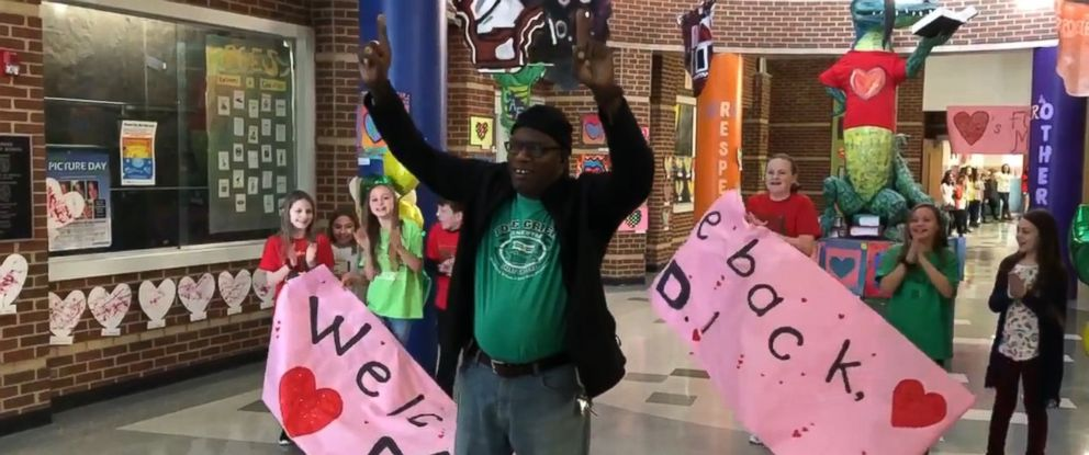 PHOTO: Tyrees Dandridge, known to students as Mr. D., returned to Pole Green Elementary School in Virginia to a screaming crowd as he returned to his duties as custodian on Feb. 25, after a heart and kidney transplant.