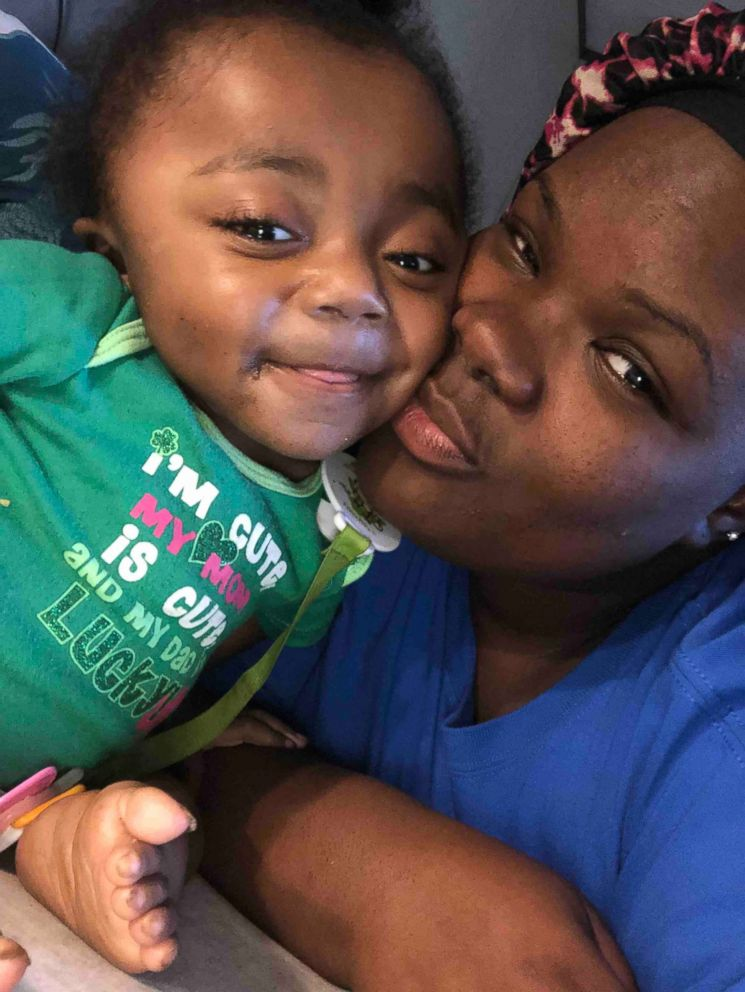 Cyn'niah Burton, 3, poses in a photo with her mom, Destini Jackson of Woodville, Mississippi.