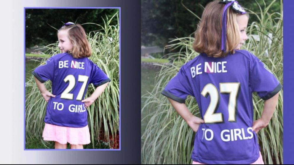 a157e1342a5 Ravens Fans Alter Girl's Ray Rice Jersey to 'Be Nice to Girls' - ABC ...
