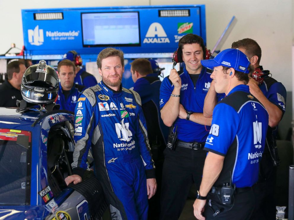PHOTO: In this file photo, Dale Earnhardt Jr., driver of the #88 Nationwide Chevrolet, talks to his crew in the garage at Daytona International Speedway, July 1, 2016, in Daytona Beach, Fla.