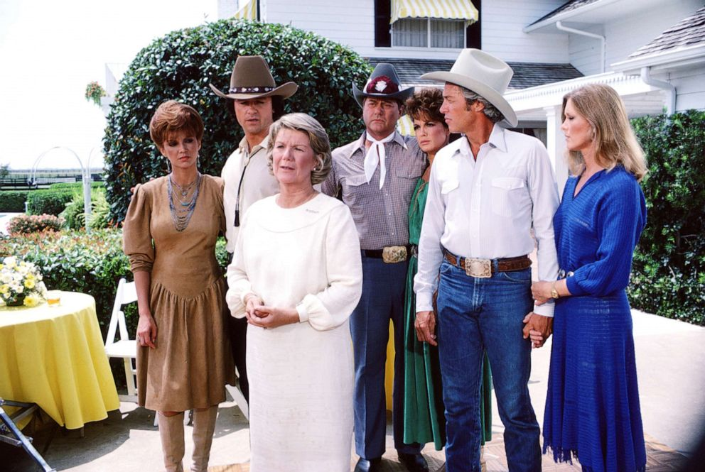 PHOTO: In a scene from the American television series Dallas, cast members gather on the porch of a large house, Dallas, Texas, 1981.
