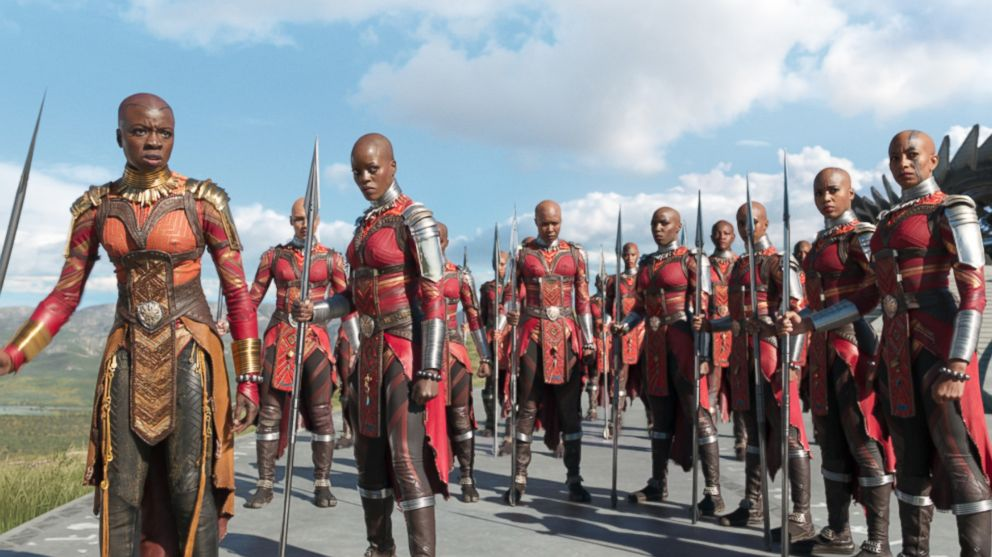 "Danai Gurira in a scene from ""Black Panther."""