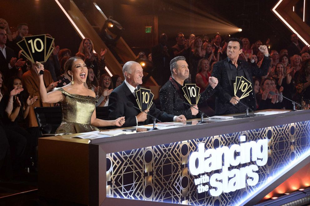 PHOTO: Carrie Ann Inaba, Len Goodman, Joey Fatone, Bruno Tonioli on Dancing with the Stars, Nov. 11, 2019.