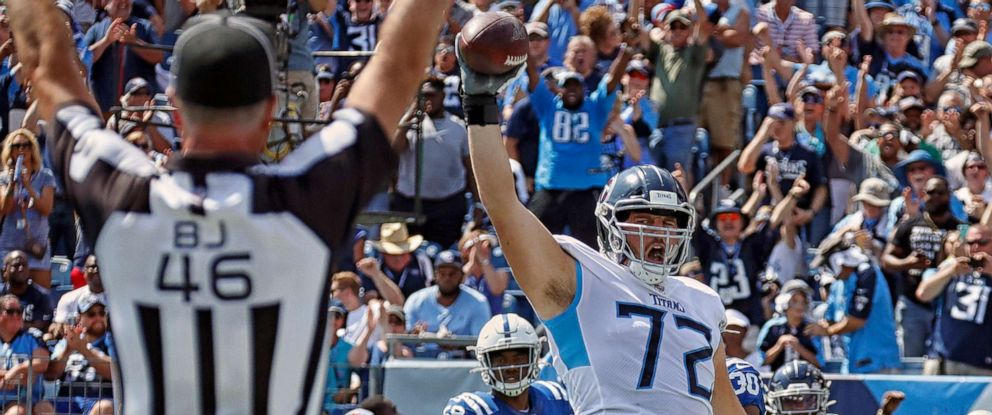 PHOTO: David Quessenberry of the Tennessee Titans celebrates after making a touchdown reception against the Indianapolis Colts during the first half at Nissan Stadium, Sept. 15, 2019, in Nashville.