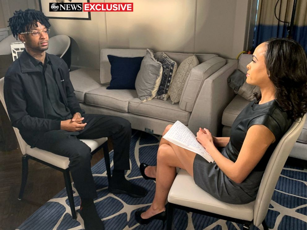 PHOTO: 21 Savage, the Atlanta-based rapper, who was arrested in a targeted operation by ICE, speaks to ABC News Linsey Davis in an interview airing on Good Morning America.