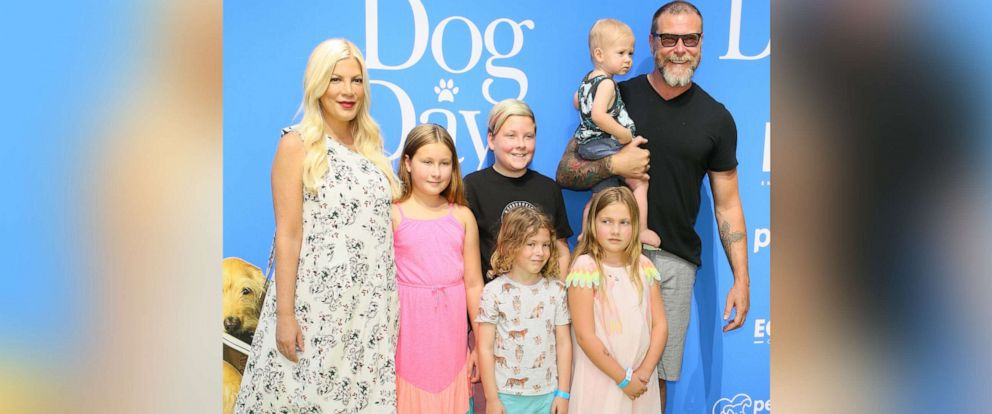 """PHOTO: Dean McDermott, Tori Spelling and family attend the premiere of LD Entertainments """"Dog Days"""" at Westfield Century City on Aug. 5, 2018 in Century City, Calif."""