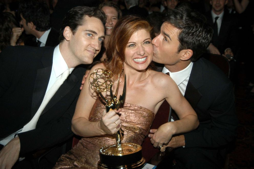 PHOTO: Daniel Zelman, Debra Messing, who won for outstanding lead actress in a comedy series for her work on Will & Grace, and co-star Eric McCormack.